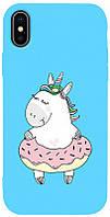 Чехол-накладка TOTO Matt TPU 2mm Print Case Apple iPhone X/XS #3 Unicorn Donut Sky Blue #I/S