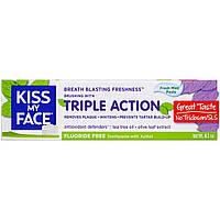 Kiss My Face, Зубная паста с ксилитом без фтора с тройным действием, со свежим ароматом мяты, 4,1 унции