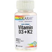 Solaray, Витамин D3 + K2, без сои, 60 капсул с оболочкой из ингредиентов растительного происхождения Харьков,