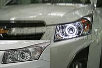 "Chevrolet CRUZE - установка биксеноновых линз Moonlight G6/Q5 3,0"" дюйма D2S H4 и LED ""ангельских глазок"", фото 1"