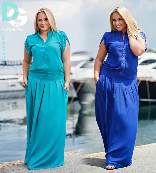 ec668865164 Женское платье в пол больших размеров с гипюром на спине -