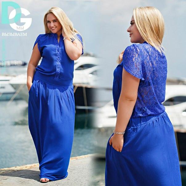 984b7d768dd9 Купить Женское платье в пол больших размеров с гипюром на спине в ...