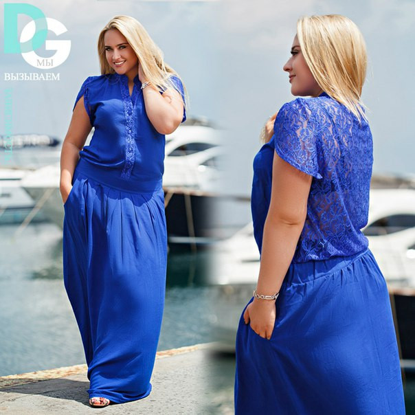 Купить Женское платье в пол больших размеров с гипюром на спине в ... c311204030b05