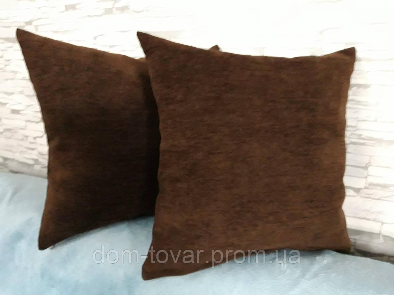 Подушка декоративная 40х40 темно- коричневая