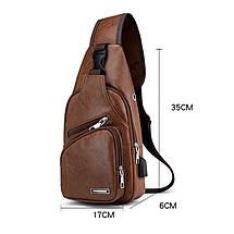 Чоловіча сумочка кроссбоди через плечі Laamei 1149 коричневий, фото 3
