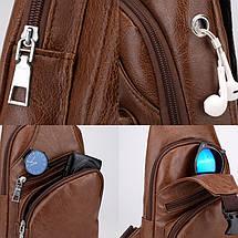 Чоловіча сумочка кроссбоди через плечі Laamei 1149 коричневий, фото 2