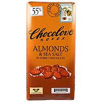 Chocolove, Темный шоколад с миндалем и морской солью, 3,2 унции (90 г)