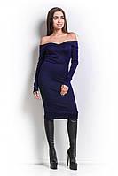 Синее облегающее платье с открытыми плечами (S)