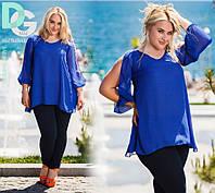 Женская блузка-туника из шифона больших размеров