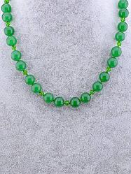 Бусы женские зелёные из нефрита и чешского хрусталя. Длина 52 см.