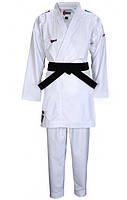 Кимоно для карате SMAI Jin Kumite аккредитованное WKF с синими полосами (AS-034B, белое)