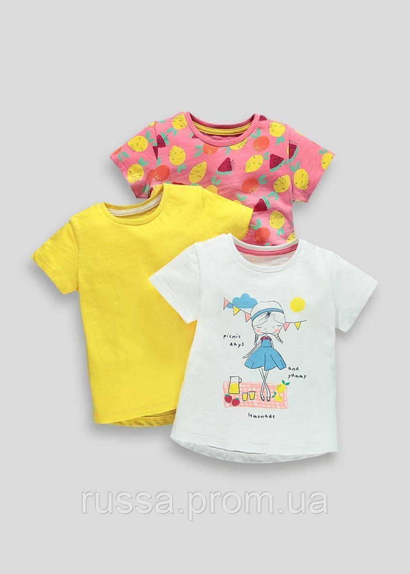 Набор симпатичных футболочек 3 шт Фрукты для девочки Маталан