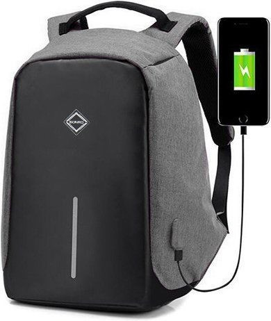 Рюкзак антивор Bonro с USB, 17 л. Цвет серый.