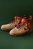 Мужские кроссовки Nike Air Force Hight Brown, Реплика, фото 1
