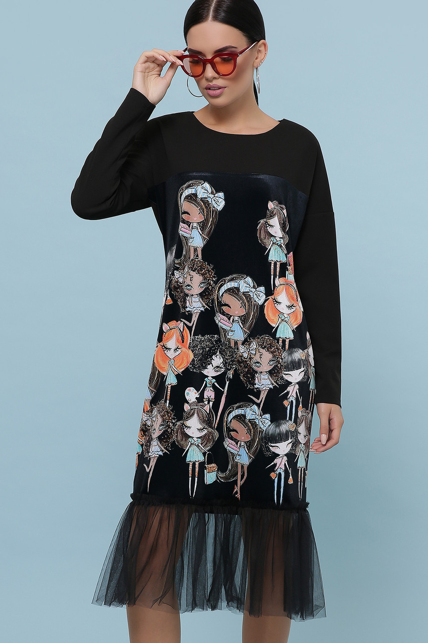 Женское платье черное Девочки Луиза д/р