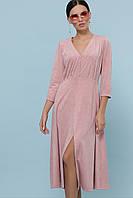 Женское пудровое платье из искусственной замши Ариадна д/р