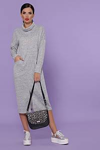 Женское серое теплое платье Дакота д/р