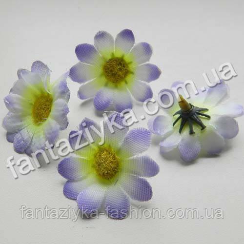 Искусственная головка цветка цинерарии 3,5см, бело-сиреневая