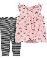 Детский летний костюм - топ и капри  Картерс для девочки