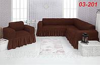 Чехол на угловой диван и кресло с оборкой CONCORDIA