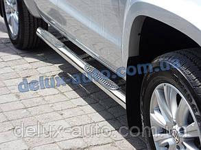 Боковые пороги труба с проступью на Volkswagen Amarok Пороги трубы нержавейка хром на Фольксваген Амарок 2010