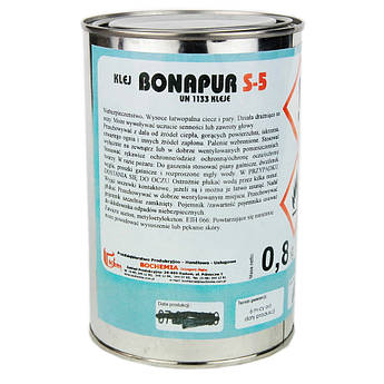Термостойкий клей Bonapur S-5 (под пульвер) для перетяжки торпеды, карт 1л.(без отвердителя).