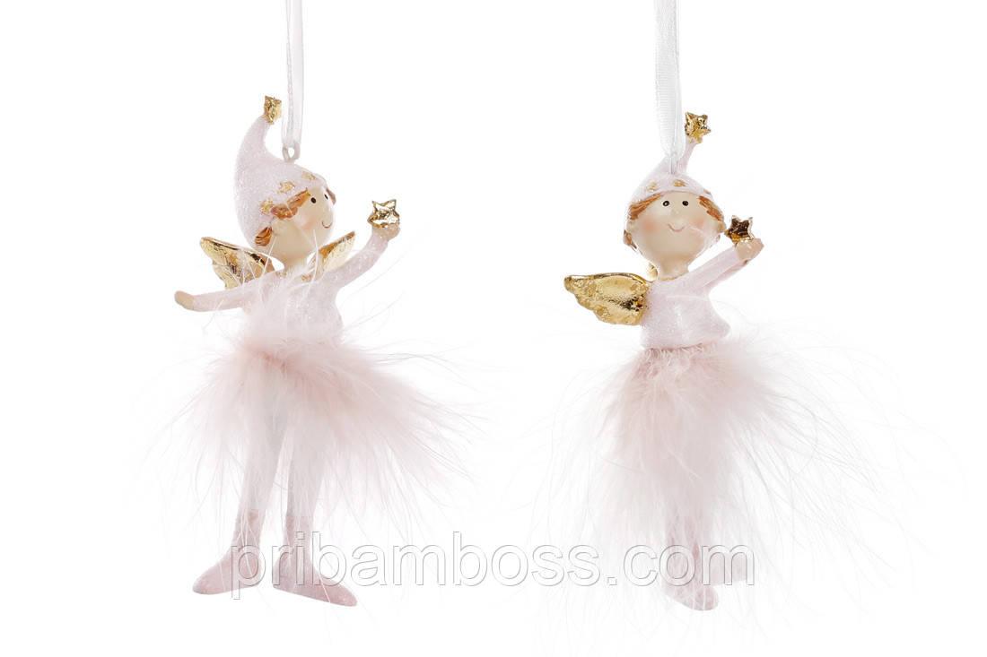 Декоративная фигурка на подвесе Девочка-ангел 10см, 6 шт.