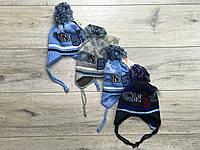 Акриловая шапка ( на флисе) для мальчиков. 0- 18 месяцев.