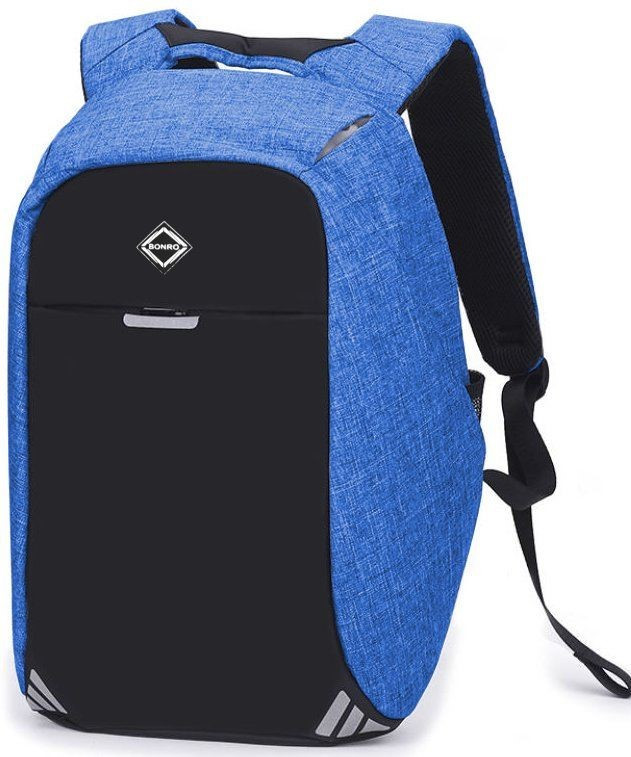Рюкзак антивор Bonro с USB 20 л Цвет голубой.