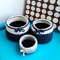 Интерьерные корзинки черно-белая расцветка из трикотажной пряжи. 3 размера. Продаются по отдельности.