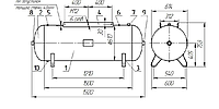 Горизонтальный ресивер для компрессора 500 литров