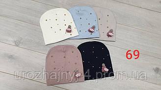 Теплая шапка для девочки, подкладка флис, размер 50-52, упаковка 5 шт