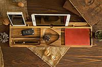 Персонализированный деревянный настольный органайзер для дома офиса в подарок шефу мужу парню на день рождения
