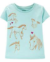 Детская бирюзовая трикотажная футболка с лошадкой Картерс для девочки