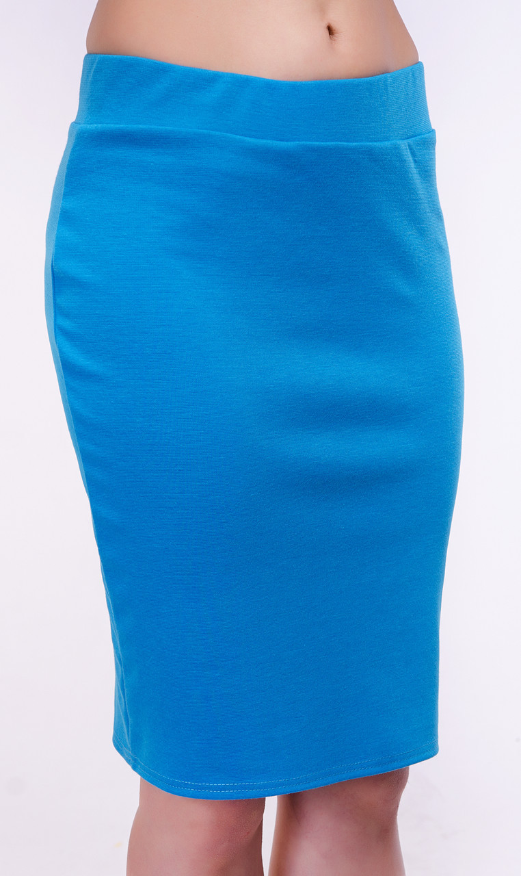Классическая женская юбка карандаш цвета бирюзы