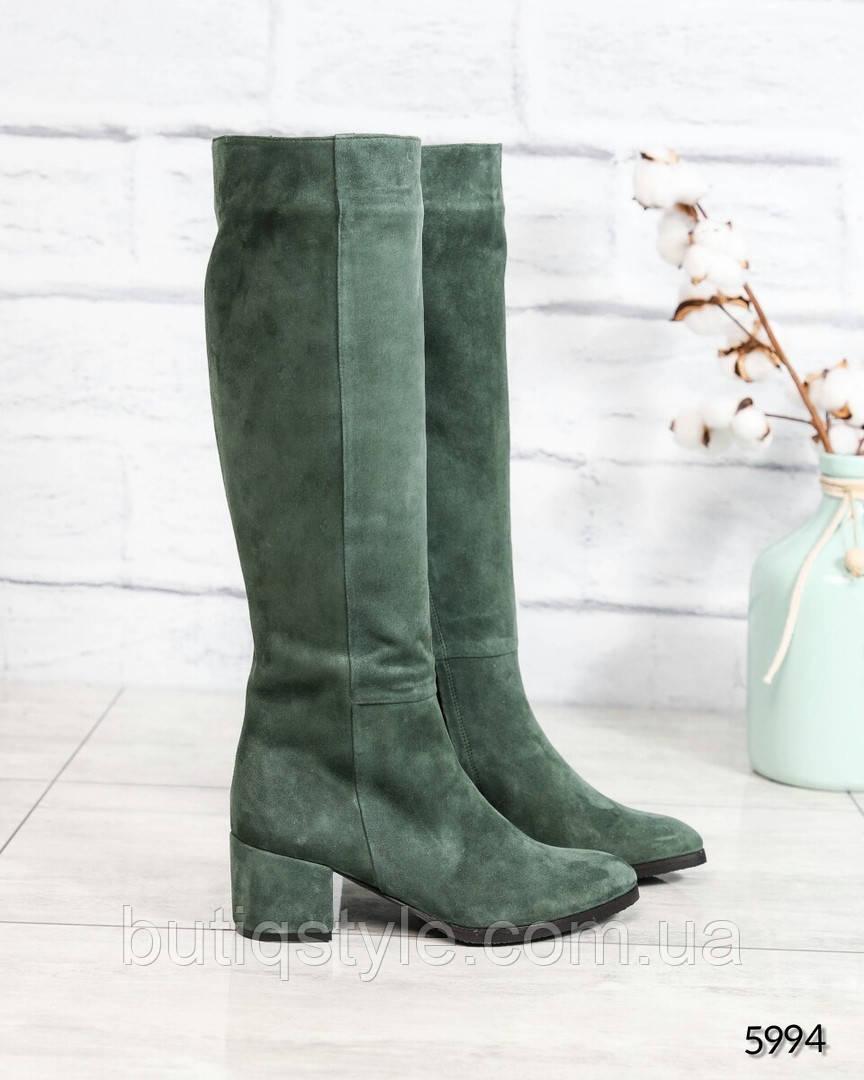 Элитные зеленые женские сапоги натуральный замш Деми