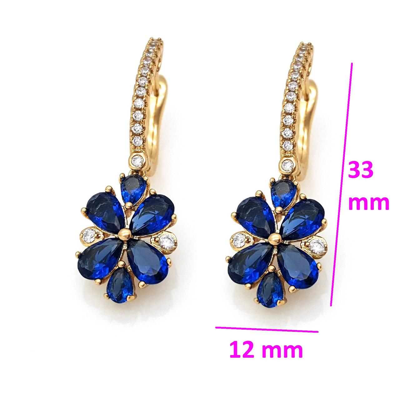 Серьги, Цветок з синим цирконием, англ.замок, позолота Xuping, 18К