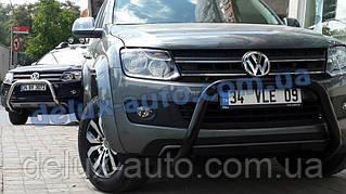 Кенгурятник низкий черный мат на Volkswagen Amarok 2010+ Кенгур низкий черный на Фольксваген Амарок с 2010