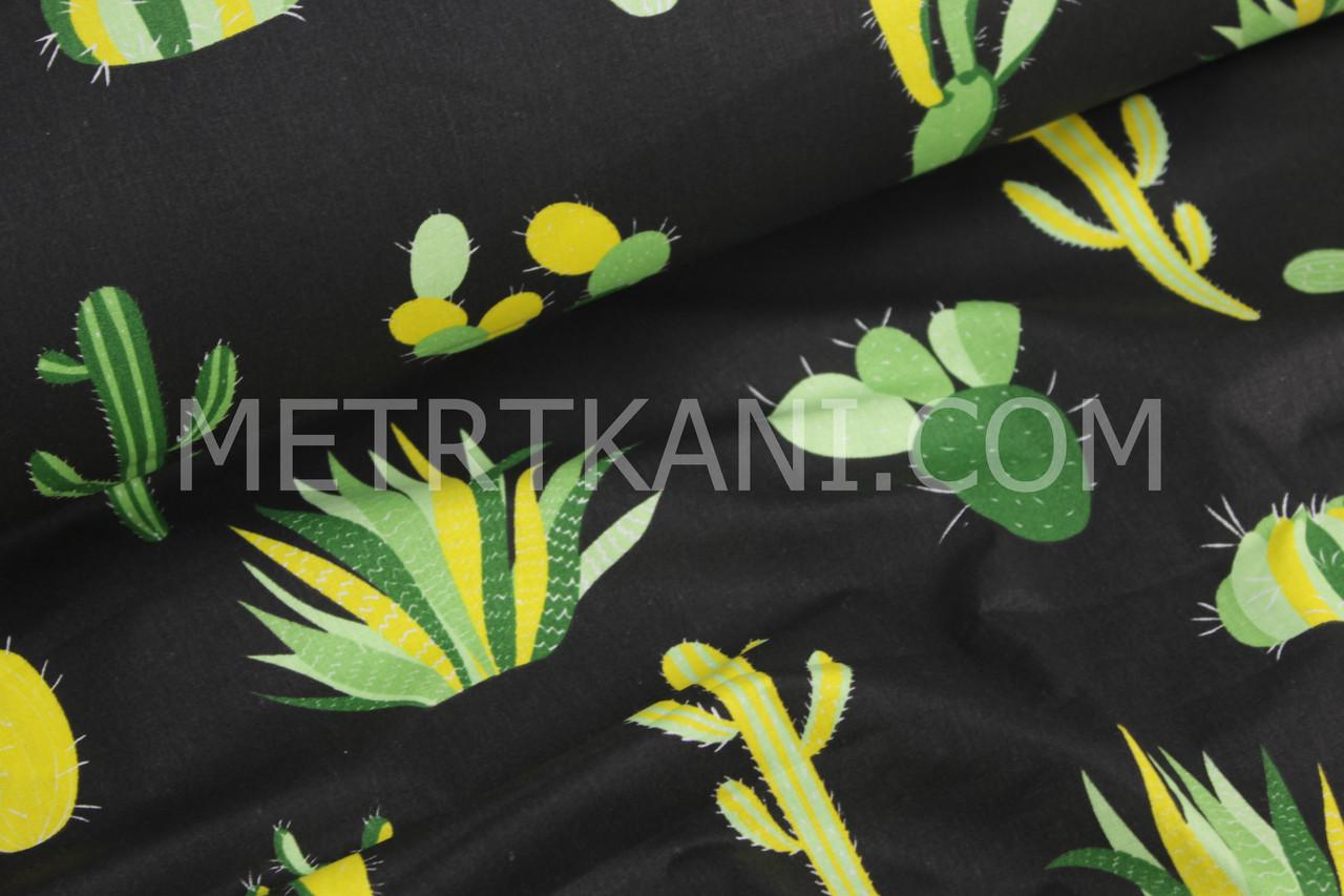 Ткань хлопковая с кактусами на чёрном фоне №1086