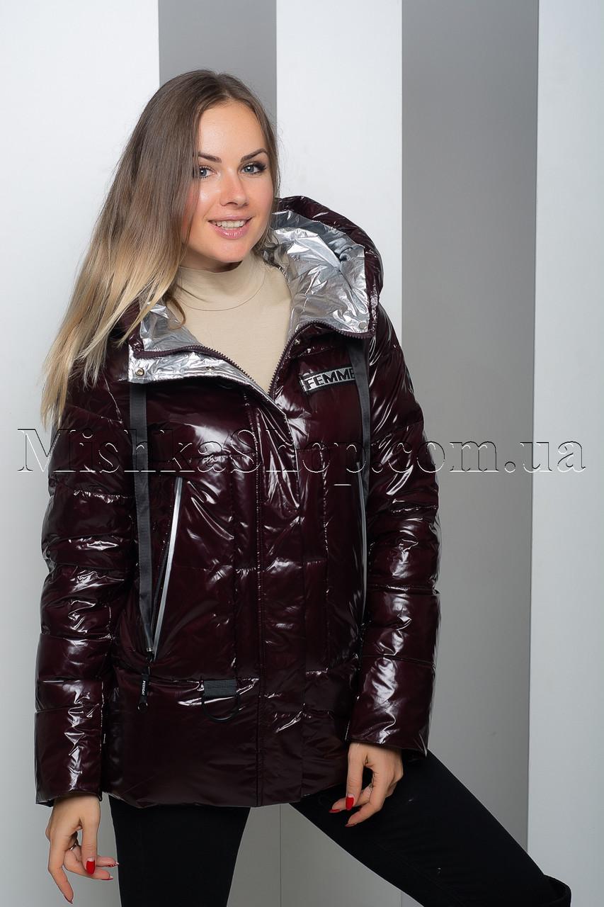 Тёплая куртка из лаковой ткани Peercat 19-130 цвета марсала