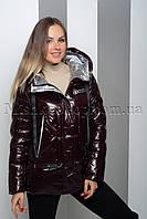 Тёплая куртка из лаковой ткани Peercat 19-130 цвета марсала, фото 1
