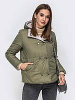 Короткая  женская куртка с капюшоном и карманами play S 40-42 олива серый a19APw92_12