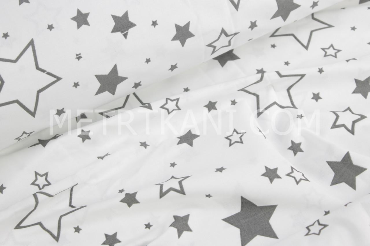 Ткань бязь крупными звездопад с контурными,графитовыми звёздами на белом фоне № 764