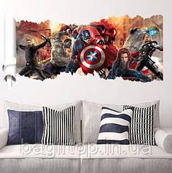 Интерьерная наклейка  Мстители 3D  (90х50см)