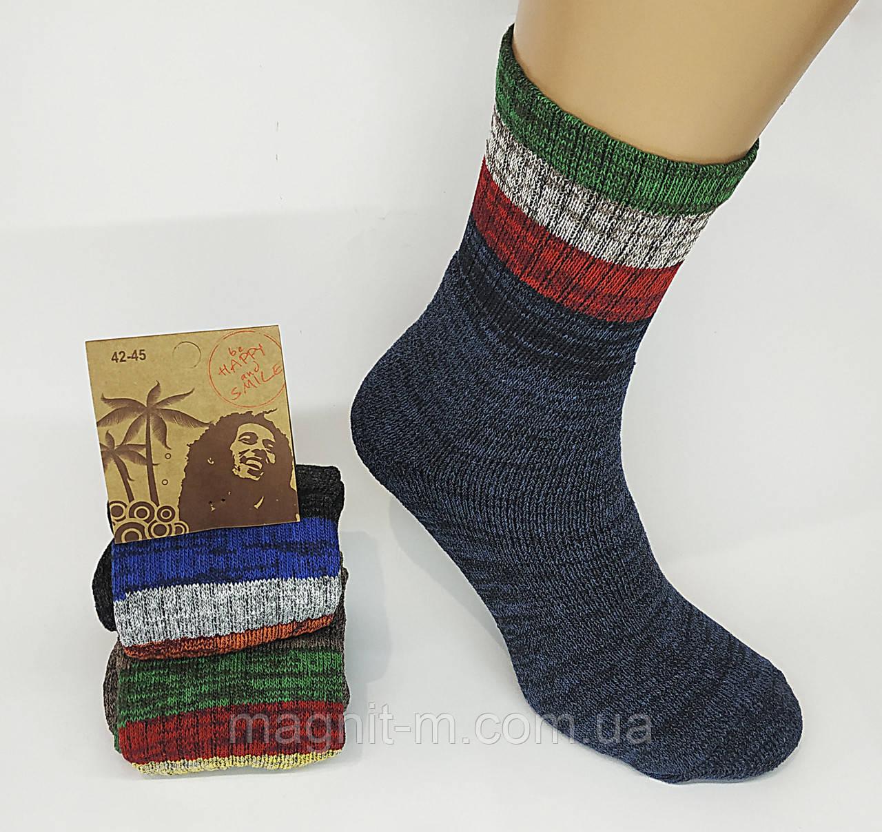 Мужские теплые махровые носки Ямайка. Р-р 42-45.