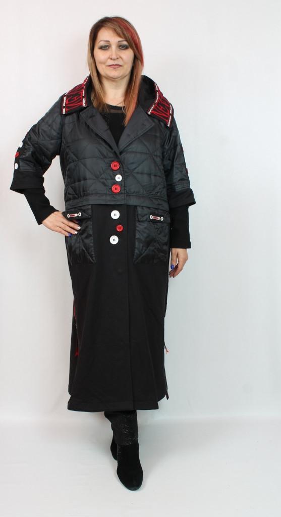 Турецкий женский длинный кардиган комби, больших размеров 52-64