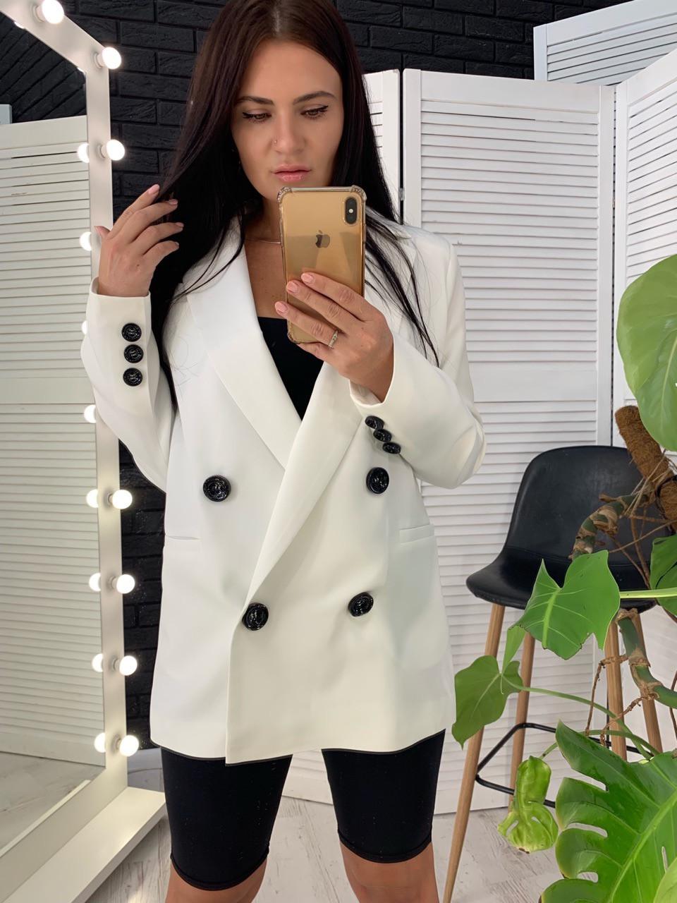 Женский двубортный пиджак на подкладе удлиненный 58pk218