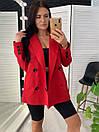 Женский двубортный пиджак на подкладе удлиненный 58pk218, фото 2