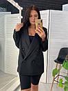 Женский двубортный пиджак на подкладе удлиненный 58pk218, фото 3
