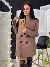 Женский двубортный пиджак на подкладе удлиненный 58pk218, фото 4